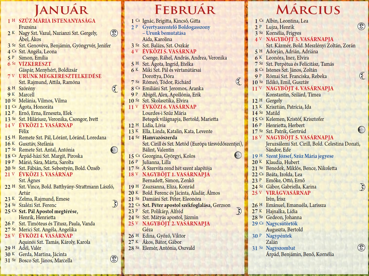 naptár 2019 névnapokkal Szatmári Római Katolikus Egyházmegye   Naptár 2018 ra naptár 2019 névnapokkal
